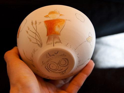 Bol en porcelaine décoré à la main, pièce unique, épouvantail