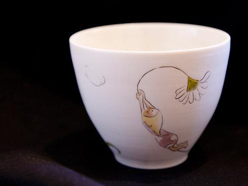 Bol en porcelaine décoré à la main, pièce unique-lutin fleur