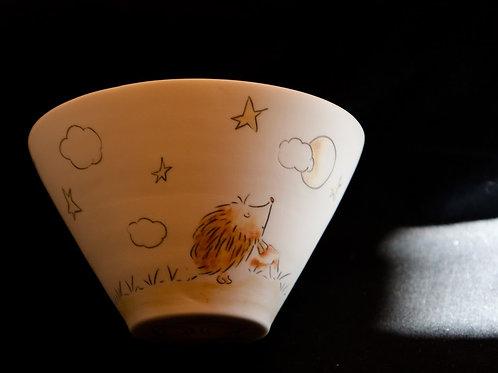 Bol en porcelaine décoré à la main, pièce unique, hérisson