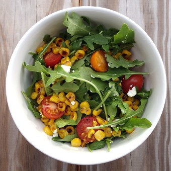 roasted corn arugula salad