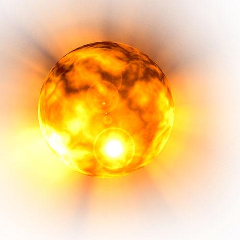 Boule de lumière,jaune,orange, dorée et lumineuse, représentant l'energie solaire retrouvée apres une séance d'hypnotherapie