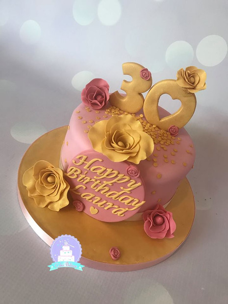 Gold and pink 30th birthday cake