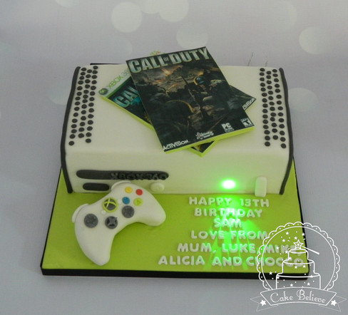 X Box cake with working light!