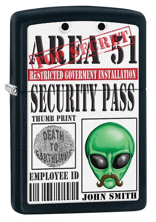 Area 51 Black Matte Zippo Lighter