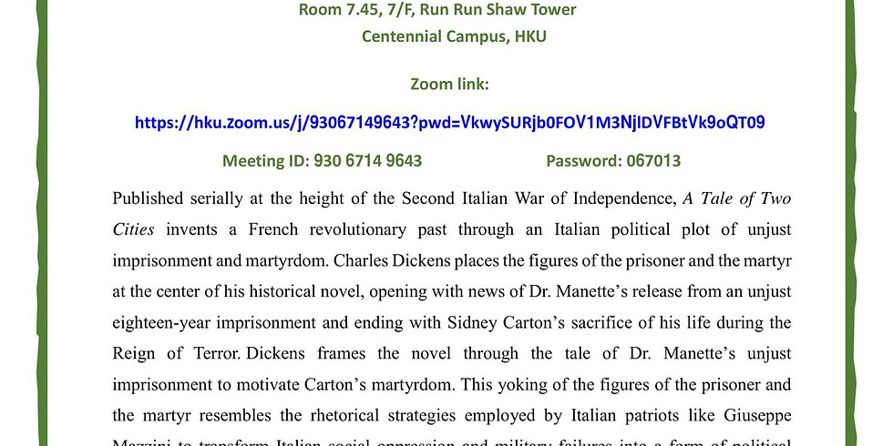 """""""Resurrection and Risorgimento: Giuseppe Mazzini and the Cult of Martyrdom in A Tale of Two Cities"""""""