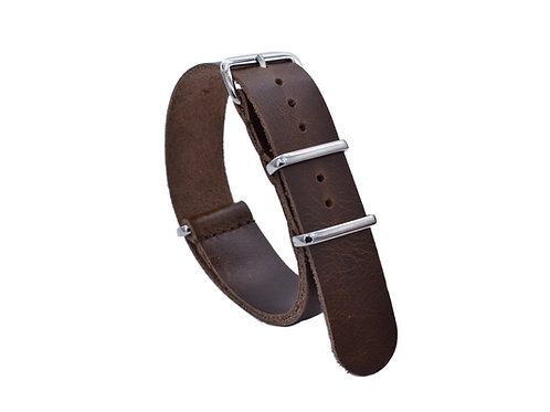 Premium One-Piece Leather Strap - Pecan Wood (20mm/22mm)