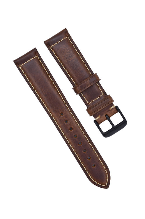 2 Piece Stitched - Pecan Wood - Matte Black Buckle (18mm/20mm)