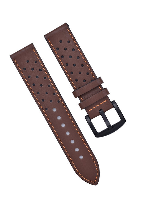 Perforated 2 Strap - Light Brown & Black (18mm/20mm/22mm)
