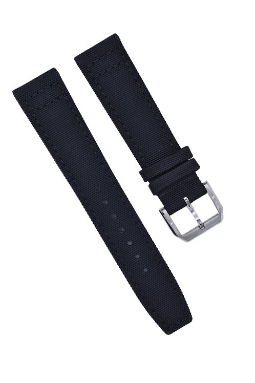 2-Piece Canvas Military Style Band {Updated} - Black (20mm/22)