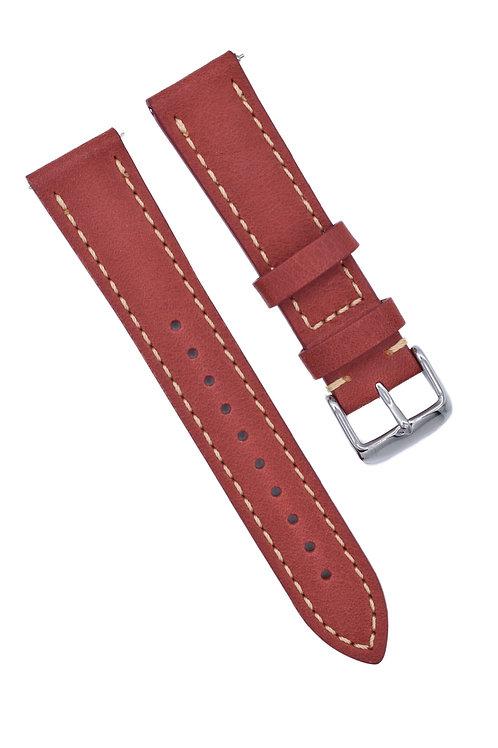 2 Piece Stitched (Flat) - Handmade - Brick Red (18mm/20mm/22mm)