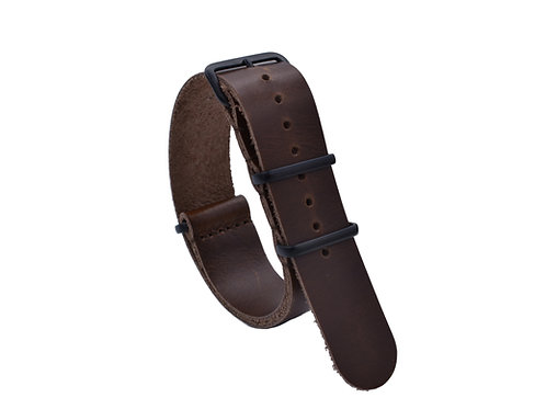 Premium One-Piece Leather Strap - Pecan Wood (20mm/22mm)
