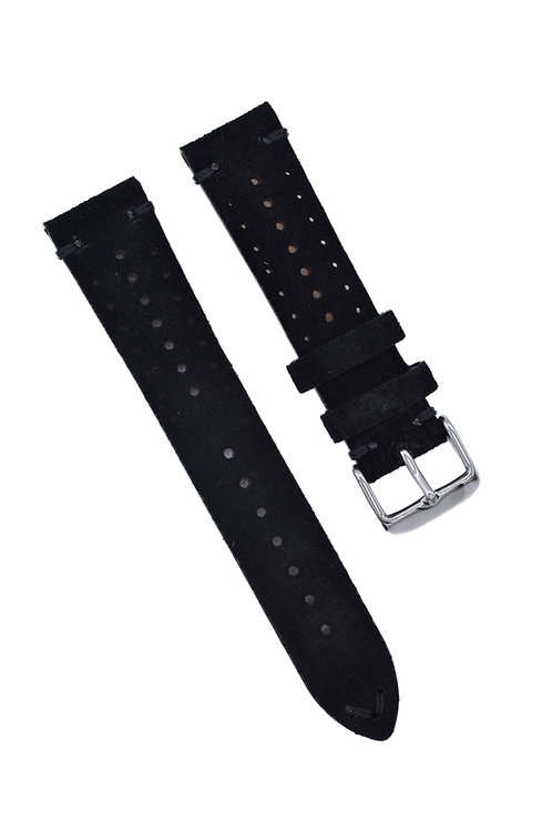 Perforated Suede - Tuxedo Black (18mm/20mm/22mm)