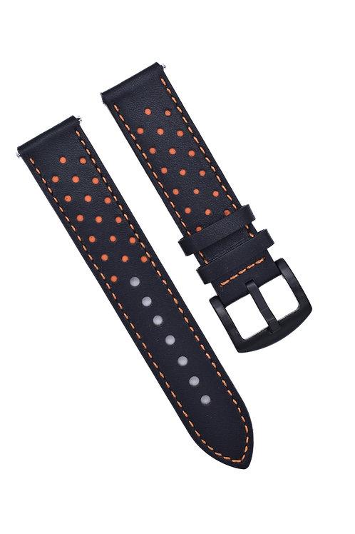Perforated 2 Strap - Black & Orange (18mm/20mm/22mm)