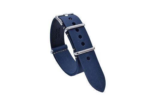 One-Piece Premium Leather Strap - Blue (20mm/22mm)