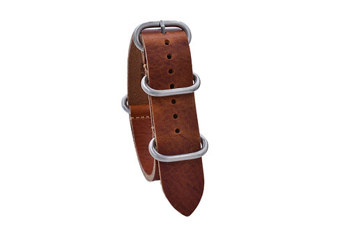 Heavy Duty One-Piece Leather - Vintage Brown (20mm/22mm)