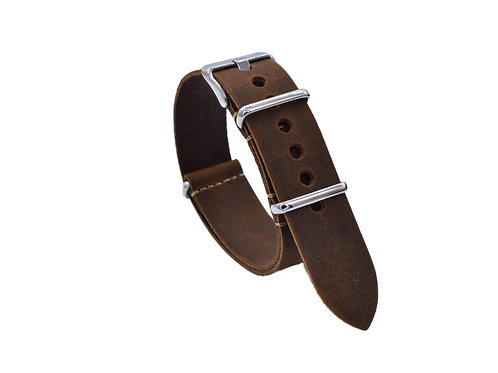 One-Piece Premium Leather Strap - Dark Brown (18mm/20mm/22mm)