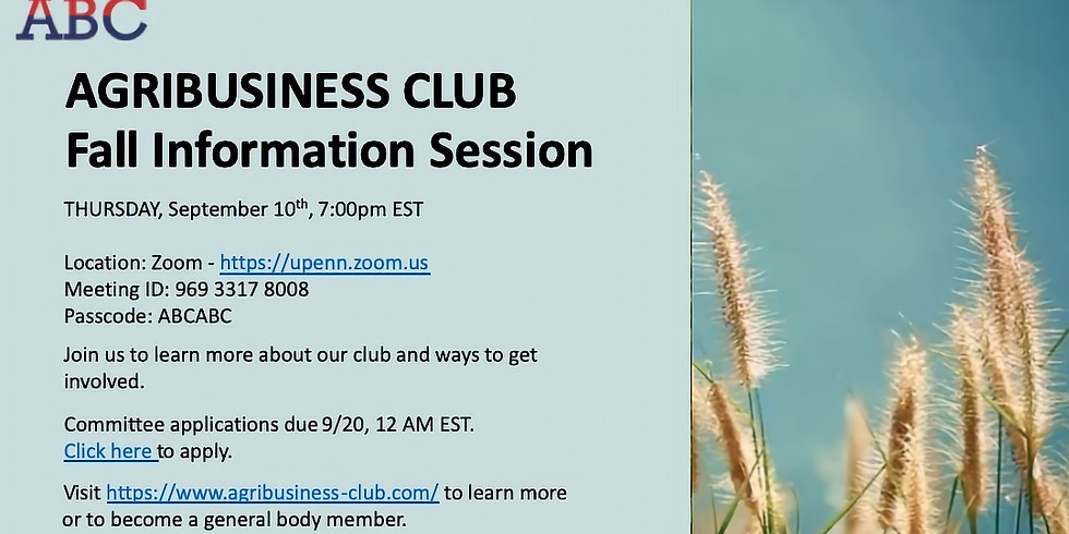 AgriBusiness Club Information Session