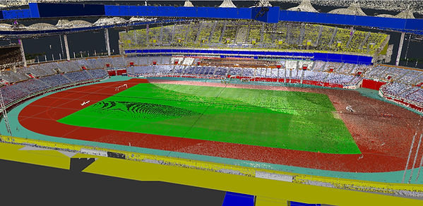 INCHEON MUNHAK STADIUM 3D Point Cloud and Model Overla