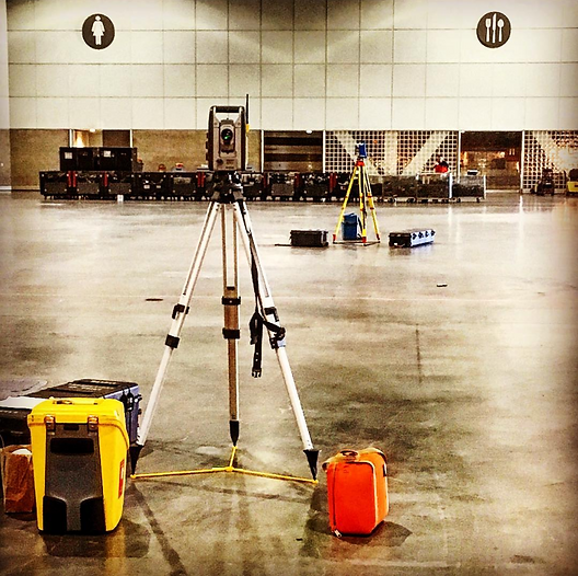 Two total stations set up to mark out rigging