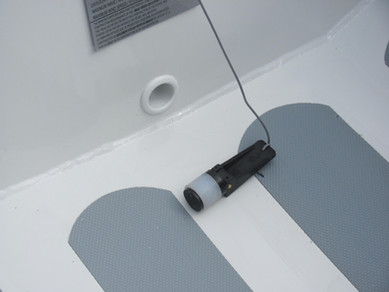 Stern view, drain plug