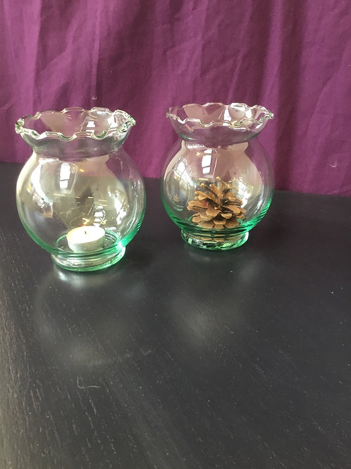 Waved edge glass vase