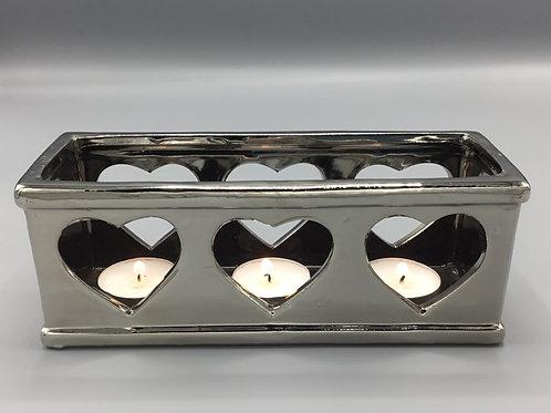 Silver heart tea light holder