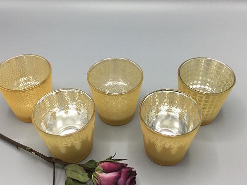 Gold Indian pattern tea light holders