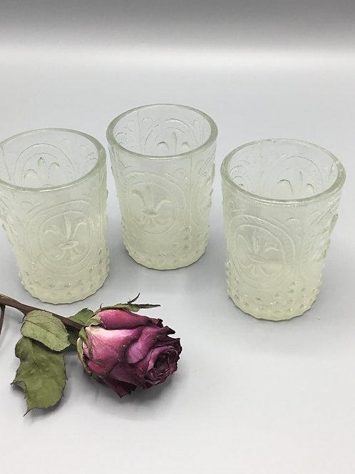 Glass tea lights x3