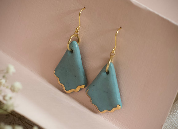 Teal fan hook earrings
