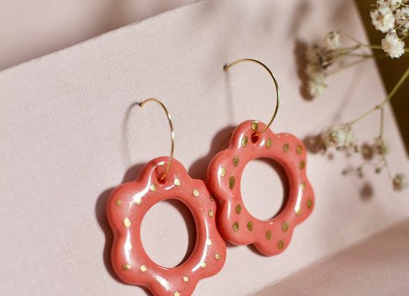 Coral flower hoops