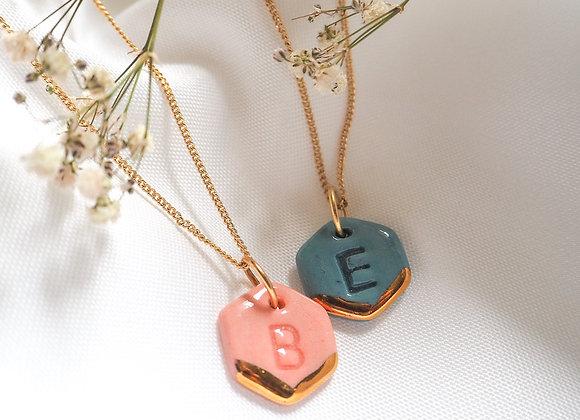 Hexagon letter necklace