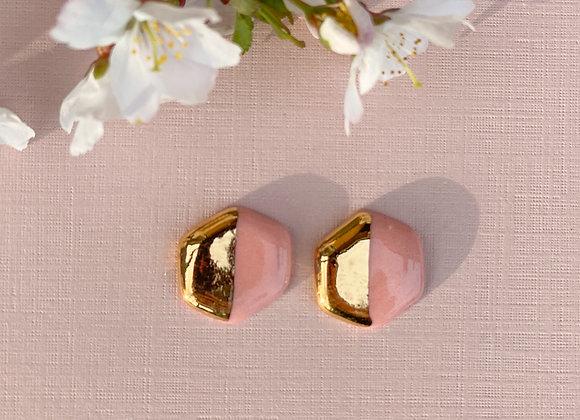 Pink hexagon studs