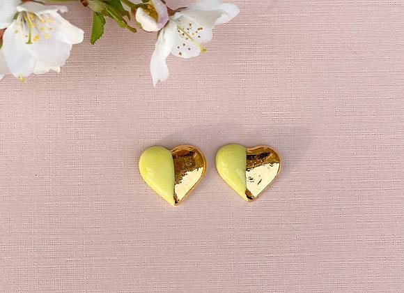 Yellow heart studs