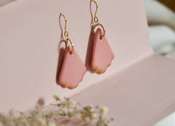 Pink fan hook earrings