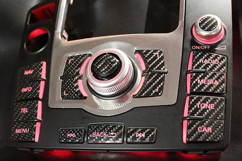 MMI Aufkleber Glanz Carbon für Audi Q7 4L FL mit 3GP oder 3GPlus Navigation