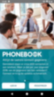 Phonebook inlogscherm