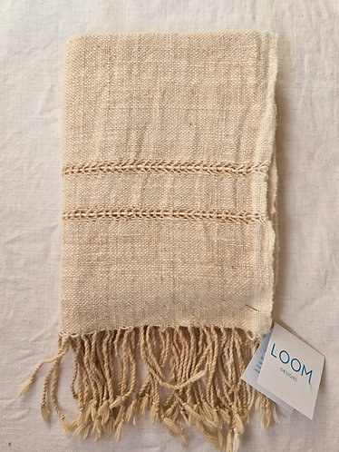 Jackfruit and Natural Cotton Handwoven Scarf by Loom Designs