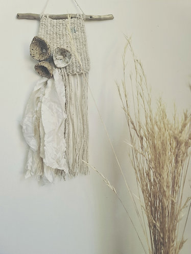 Tiny wall tapestry with ceramic bead