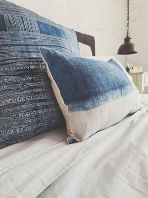 Vintage Indigo Dyed Hemp Textile Cushions