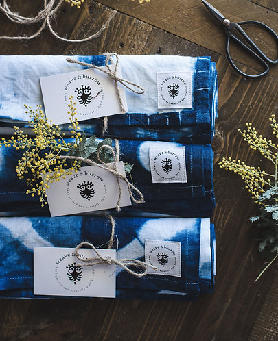 Indigo Dyed Linen Tea Towels by Weave & Burrow (Set of 3)