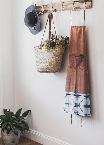 Chai Stonewash Cotton Apron with Shibori Detail by Weave & Burrow