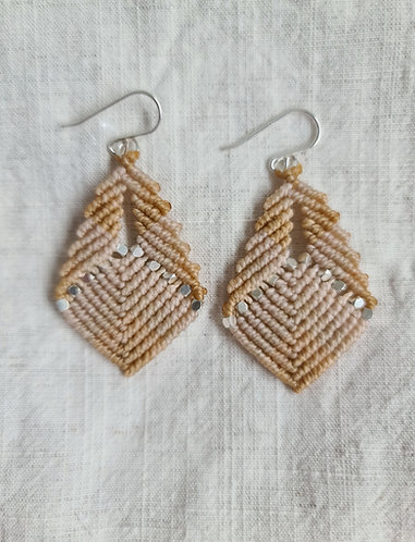 Neutral and Silver Macramé earrings by Pappus Jewellery