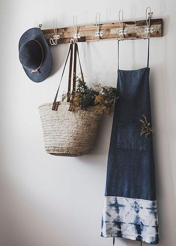 Indigo Stonewash Cotton Apron with Shibori Detail by Weave & Burrow