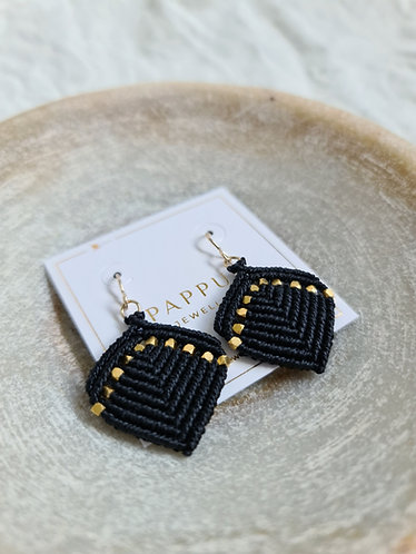 Black and Gold Macramé earrings by Pappus Jewellery