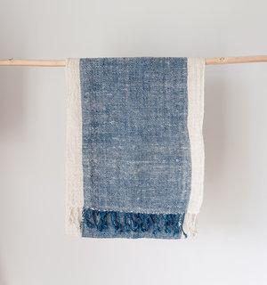 Handwoven Scarf- Light Indigo and Natural Cotton
