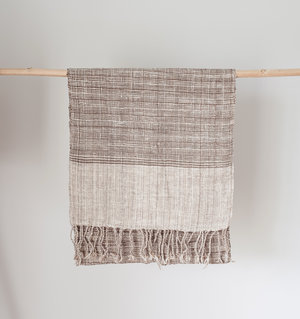 Handwoven Scarf- Mekong Clay and Natural Cotton Check
