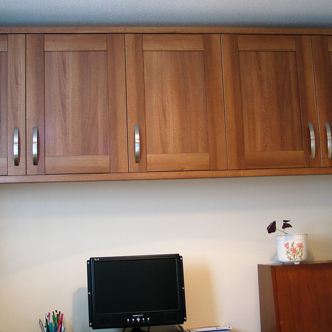 Fitted office wall units - Walnut Effect