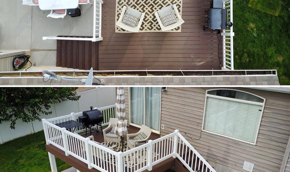 Timbertech deck with white vinyl railing