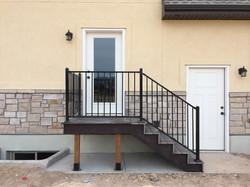 New home construction deck, railing,