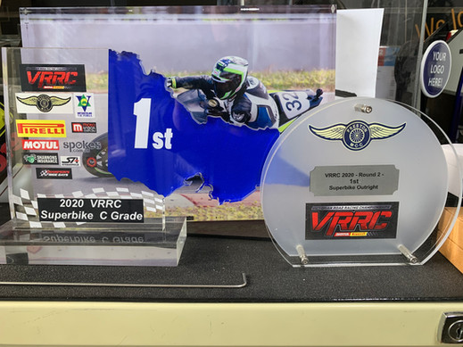 Laser cut and UV printed trophies